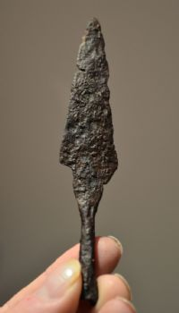A very large and impressive Roman Military socketed Iron arrowhead. SOLD